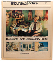 January 23, 1977 cover of the Sunday Minneapolis Star Tribune Picture Magazine featuring photos of North Dakota taken during the Dakota Photo Documentary Project 1976 (thstrand) Tags: usa color history minnesota magazine print photography us newspaper media published photographer state photos unitedstatesofamerica newspapers photographers images historic cover photograph american nd norwich 70s americans historical 1970s 1977 20thcentury survey bicentennial 1976 communications seniors publication jamesdean statewide specialedition markstrand minneapolisstartribune printedmedia jerryanderson dpdp dakotaphotodocumentaryproject picturemagazine rhame raymondpayne ageranges kenjorgensen fredschumacher brucesevery duwaynerude virgilcarroll