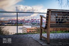 Industrieromantik hanseatisch (InThisLight Photography) Tags: bench ship harbour hamburg vessel cranes container hafen elbe elbstrand altona