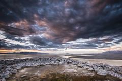 DSC_8408_Puff Balls (antelope reflection) Tags: sunset storm color reflection beach water utah seaside rocks antelopeisland greatsaltlake crackedearth utahstatepark amazingamazing nikond750