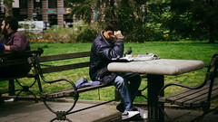 New York City Hall Park (Jeffrey) Tags: park nyc newyorkcity people ny newyork man men outdoors spring downtown afternoon cityhall manhattan broadway relaxing parks april tribeca resting lounging 300 civiccentre lowermanhattan civiccenter cityhallpark chesstable downtownmanhattan 2016 300pm
