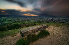 View for a sunset (Russell Discombe) Tags: longexposure sunset sun storm clouds bench landscape nikon view hill sigma gloucestershire viewpoint cheltenham sigma1020mm leckhamptonhill leckhampton 10stop nikond3300