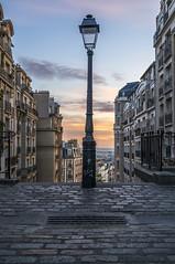 Sunrise on a street light in Montmartre, Paris, France (lecomptoirdepierre.wordpress.com) Tags: street city abstract paris france architecture sunrise streetlight cityscape montmartre cobblestones parisian rverbre parissunrise nex6 zeiss24f18