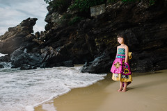 Alyzza (rifqi dahlgren) Tags: portrait cute beach girl indonesia colorful dress cliffs balikpapan strobist x100s