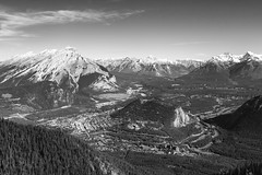 Bow River Valley (Royal Canadian) Tags: blackandwhite canada mountains river landscape rockies aerial alberta vista banff bowriver