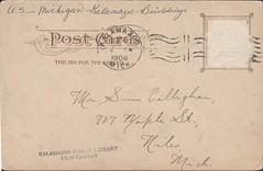 Post Office, Kalamazoo, Mich., Back (kplcommons) Tags: architecture michigan postcard postoffice stamp kalamazoo buidling postmark unitedstatespostalservice kalamazoopubliclibrary