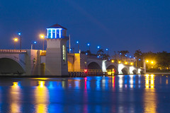 Flagler Memorial Bridge, West Palm Beach, FL (rmehdee) Tags: city longexposure bridge blue light red lake tourism water colors beauty night amazing downtown purple florida joy streetphotography bluesky structure palmbeach heavenly flagler waterscape westpalm flaglerbridge