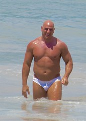 IMG_1199 (danimaniacs) Tags: shirtless man hot sexy guy beach smile pecs muscle muscular beefy bald trunks speedo swimsuit stud bulge mansolo