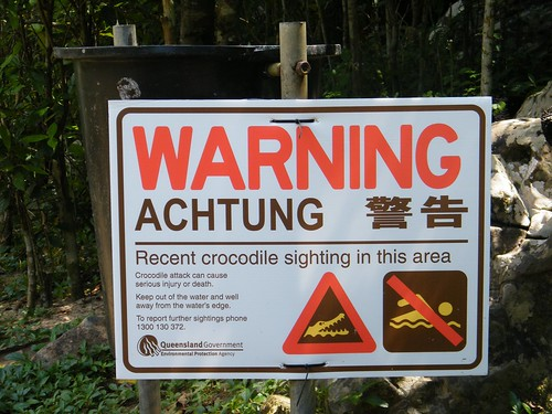 Croc Warning at Main Waterfall