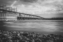 Pickwick Dam (Elizabeth_211) Tags: longexposure blackandwhite water landscape energy power dam tennessee hi tva westtn sherielizabeth