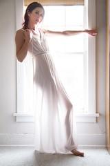Christine (austinspace) Tags: portrait woman sunshine vintage nude washington spokane naturallight retro seethrough sheer handmedown negligee