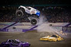 Lots of Air (_Matt_T_) Tags: truck flying freestyle pentax tires dirt entertainment yeehaw monsterjam bountyhunter smcpda18135mmf3556edalifdcwr k5iis