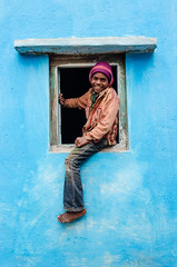 Picture Perfect : The Window Climber (AvikBangalee) Tags: blue winter boy portrait house window smile fly kid colorful child joy surreal happiness sunshade cap portraiture sylhet bangladesh pictureperfect stagedportrait beautifulbangladesh avikbangalee peopleandliving windowclimber teaplantationworkerscolony