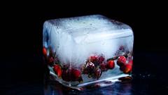Ice cube (martha hoo) Tags: schnee winter red snow cold rot ice berries natur cube kalt eis beeren glas wrfel icecube eiswrfel