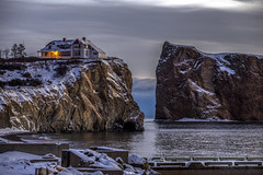 Canon 6D - House on the rocks (Danny VB) Tags: ocean trees winter light sky house snow seascape canada cold reflection rock clouds sunrise canon photography eos photo hiver january newyear qubec 6d gaspsie 2016 perc canoneos6d ef70200mmf28lisiiusm canonef70200mmf28lisiiusm