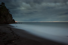 The Last Sunset (MarkE_T) Tags: montserrat smcpentaxda1645mmf4edal pentaxk5 hitech85prostop10stop hitechfilters nd1000 10stop milky beach water sand clouds caribbean ocean sunset long exposure lmekilnbay overcast