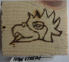 glifo pirograbado en madera (ivanutrera) Tags: wood wooden madera aztec grabado azteca glifo cuauhtli pirograbado
