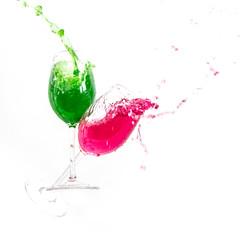 Wine Glass Splash 2 (andythekeys) Tags: red green glass wine crash spray whitebackground splash spill speedlight highspeed