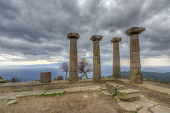 The Temple of Athena, Assos Ancient City (Nejdet Duzen) Tags: old travel winter sea sky storm history tourism archaeology monument stone architecture turkey greek temple ancient ruins place roman background traditional famous ruin aegean culture structure historical classical column past athena archeology assos canakkale destinations dardanelles archaeologist behramkale