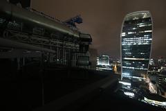 Crainz & A Fone (jessnphoto) Tags: uk blue england london rooftop night canon nightlights view rooftops unitedkingdom crane capital landmarks sigma wideangle landmark cranes nighttime viewpoint highup walkietalkie uphigh lloydsoflondon capitalcity 10mm20mm