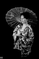 B&W Portrait (korodi2) Tags: blue red portrait bw white black flower beauty umbrella dark low sword lowkey japenese