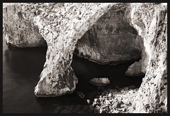 Cave (albireo 2006) Tags: sea blackandwhite bw rock blackwhite rocky malta pb nb bn cave bluegrotto zurrieq blackandwhitephotos blackwhitephotos urrieq wiediurrieq