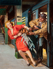 Remember Rose for Murder!, Dime Detective cover, April 1953 by Norman Saunders (Tom Simpson) Tags: newyorkcity newyork station illustration train painting subway crime cover 1950s pulp subwaystation wallstreet robbery 1953 pulpart normansaunders dimedetective rememberroseformurder