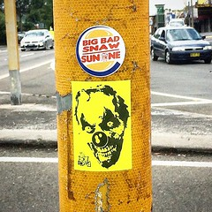 Australia (PSYCO ZRCS 10/12) Tags: street art graffiti sticker stickerart stickers sydney australia pole worldwide slap grilled tagging psyco bombing combo slaps stickerculture sunone stickerporn stickerlife