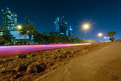 The Mighty KAFD Nov-28-15 (Bader Alotaby) Tags: city skyline architecture skyscraper photoshop photography lights nikon cityscape traffic wideangle trail riyadh bader ksa ruh nighscape d7100 kafd