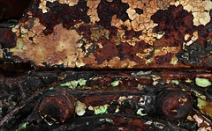 Conterminosity (Junkstock) Tags: old abstract texture closeup wisconsin photography photo rust iron paint photos decay rusty textures photographs photograph rusted weathered abstraction aged peelingpaint distressed corrosion decayed colfax corroded rustyandcrusty oldstuff craquelure