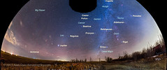 Winter and Spring Sky Panorama with Labels (Amazing Sky Photography) Tags: panorama home leo fisheye alberta sirius orion jupiter february wintersky spherical bigdipper milkyway ptgui springsky gegenschein galacticpole