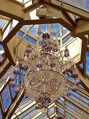 Chandelier, Cupola, Conservatory (scmrsgena) Tags: family newjersey victorian nj conservatory chandelier greenhouse cupola atrium beams brownstone cobalt chrystal repast housewivesofnewjersey mrsgrna