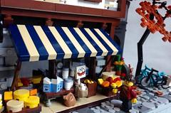 Dairy Shop (Bennemans1984) Tags: city water wheel shop cheese town milk store lego bricks medieval tudor eggs blocks dairy moc afol