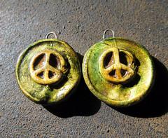 Peace  Rustic, Bohemian, Hippy, Peace Bead Set (magnolia_moon_studio) Tags: beach beads ceramics peace rustic hippy jewelry clay faux earrings bohemian primitive polymer artisian magnoliamoonstudio