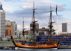 HM Bark Endeavour Replica. Sydney. (Bernard Spragg) Tags: ships sydney tallships hmbarkendeavourreplica lumixfz200