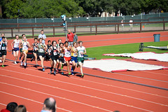 Sam taking the lead in the DMR (Malcolm Slaney) Tags: track stanford paloalto dmr 2016 paly stanfordinvitational distancemedleyrelay stanfordtrackinvitational