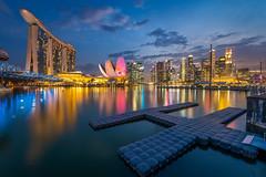 Marina Bay Singapore [Explored] (BP Chua) Tags: bridge blue sunset cloud reflection water colors museum marina buildings river landscape nikon singapore colours wideangle cbd helix colourful marinabay artscience marinabaysands marinabaysingapore ilight2016