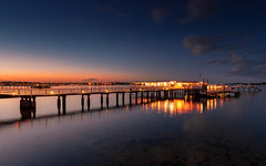 Twilight (Stefan Sellmer) Tags: sunset seascape water night clouds germany de deutschland lights outdoor dusk bluesky kiel schleswigholstein longtimeexposure kielfjord
