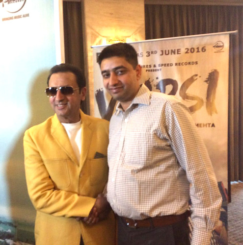 Bollywood star Gulshan Grover and LinguaSoft EduTech's CEO Gurvinder Kang promoting Punjabi film Vaapsi.