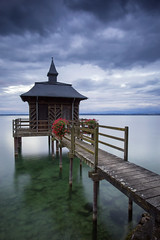 Le Pavillon des Bains (Philippe Saire || Photography) Tags: wood sky lake nature water architecture clouds canon landscape photography eos schweiz switzerland pier photo eau long exposure suisse mark swiss iii horizon shoreline lac wideangle ciel shore hood 5d usm fullframe nuages paysage ff ef 1740mm neuchtel bois ponton pavillon jete hoya rivage cokin nd400 littoral chezlebart f4l gnd8 p121s gorgier pleinformat philippesaire