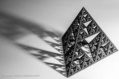 Sierpinski Tetrahedron abstract shoot (Vironevaeh) Tags: light shadow blackandwhite bw sculpture abstract triangle math mathematics fractal tetrahedron 3dprinting sierpinski selfsimilarity sierpinskitriangle sierpinskitetrahedron threedimensionalprinting