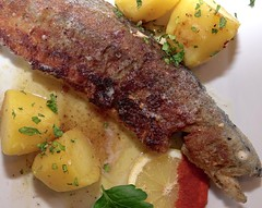 Rainbow Trout (hbwild - Hans Baumann) Tags: mountain restaurant potato trout fried rainbowtrout