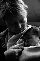 Grandma and Granddaughter (gornabanja) Tags: family grandma sleeping blackandwhite baby love contrast blackwhite nikon d70 grandmother peaceful granddaughter newborn oma asleep