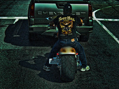 Extra Fat (raymondclarkeimages) Tags: road usa chevrolet bike fat sony traction wide tire cybershot rubber chevy motorcycle biker grip tread rider avalanche extrawide boothillsaloon raymondclarkeimages 8one8studios