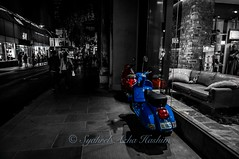 Red & Blue Vespas... (Syahrel Azha Hashim) Tags: street travel light vacation holiday detail building nikon colorful cityscape vespa dof nightshot getaway streetphotography naturallight australia melbourne tokina departmentstore transportation motorcycle handheld shallow aussie ultrawideangle busystreet selectivecoloring d300s syahrel