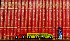 Making Plans for my Grandson's Education (georgeplakides) Tags: red train toy wooden education books childrensbritannica