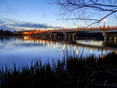 At The Rivers Edge (Paul McCarthy...) Tags: nightphotography bridge columbus lights sony landmark bluehour scioto refection lighted dublinoh sonyhx300 homeavebridge