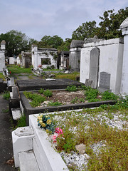 New Orleans - Plastic Flowers And Weed (Drriss & Marrionn) Tags: usa cemetery grave graveyard concrete outdoor neworleans headstone tomb graves funeral mausoleum granite sarcophagus burial marble tombs lafayettecemetery deceased gravefield vaults crypts neworleansla