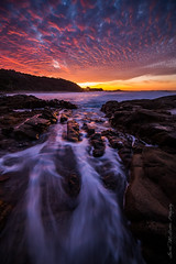 **Coolum beach Sunset** (damian.mccudden1) Tags: longexposure trees sunset red sky beach nature water clouds canon reflections landscapes rocks moody seascapes australia qld incredible sunshinecoast mackeralsky samyang