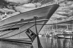 One Day.....Maybe (petojustin) Tags: ocean sea blackandwhite seascape water monochrome zeiss marina landscape boats blackwhite dock florida outdoor shore yachts sel24f18z sonnarte1824 sonya6000