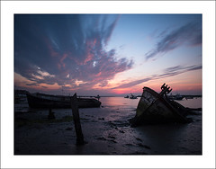 Sinking into the mud I (Christa (ch-cnb)) Tags: uk longexposure england sunrise river boats dawn boat suffolk fishing ship mud decay olympus quay estuary filter pro wreck zuiko decaying eastanglia omd orford orfordness alde em5 nd110 microfourthirds mzd1240mm